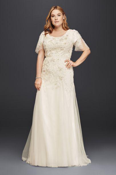 plus size modest wedding dress with floral lace | david's bridal