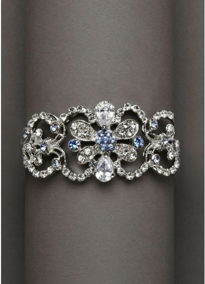 Blue and Silver Rhinestone Cuff Bracelet - Wedding Accessories