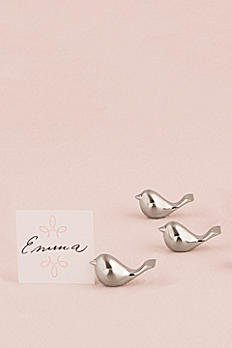 Brushed Silver Bird Place Card Holders Set of 8 9023