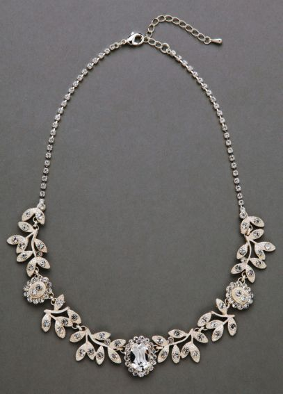 Vine Necklace with Large Oval Crystals 9050N