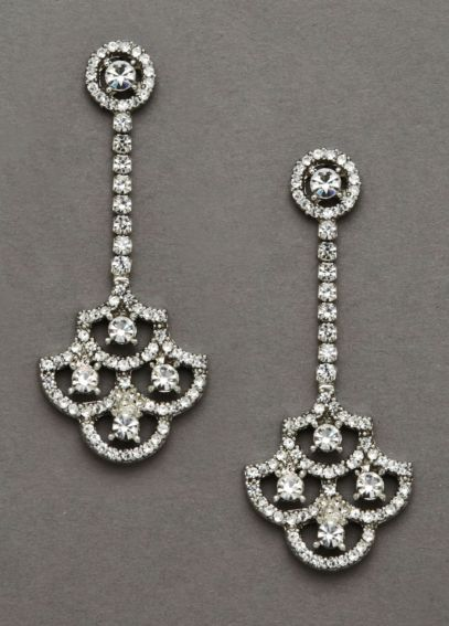 Gatsby Inspired Crystal Fan Earrings 9054E