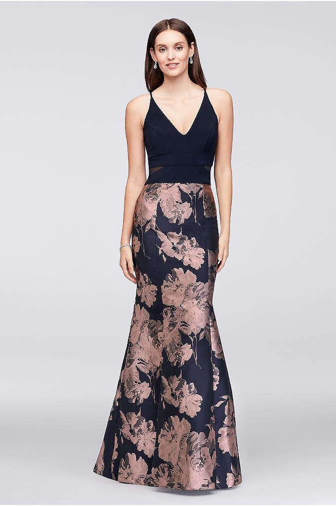 V-Neck Jersey and Brocade Mermaid Gown - Roses bloom on the flared brocade skirt of