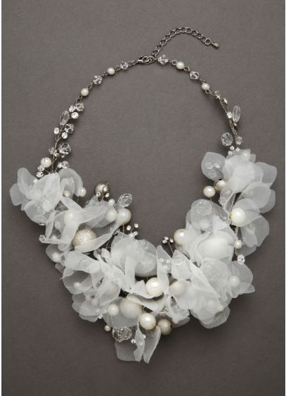 Floral Bouquet Crystal Necklace - Wedding Accessories