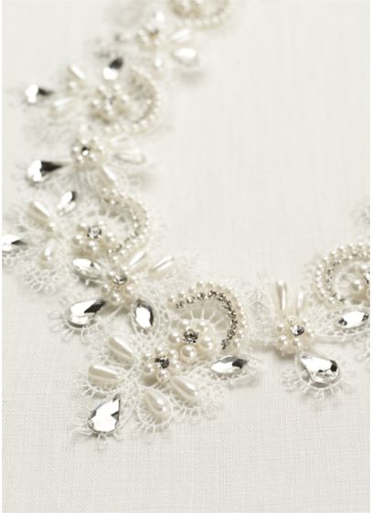 Pearl and Crystal Lace Necklace - Wedding Accessories
