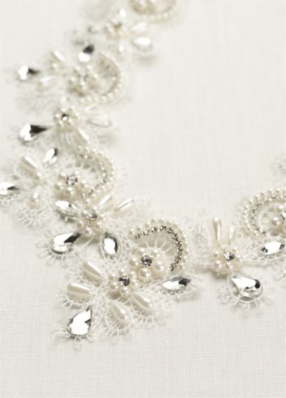 Pearl and Crystal Lace Necklace 9075N
