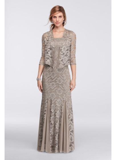 Metallic Lace Jacket Dress with Godets | David's Bridal