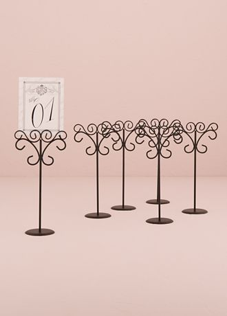 White (Ornamental Wire Table Card Holder Pack Of 6)