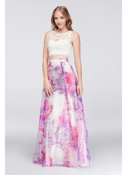 Lace Crop Top And Printed Organza Skirt Set