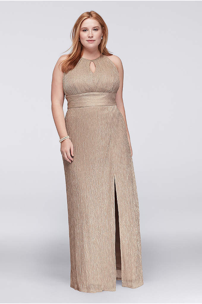 Metallic Keyhole Plus Size Halter A-Line Dress - Glistening metallic fabric shines bright, creating an eye-catching