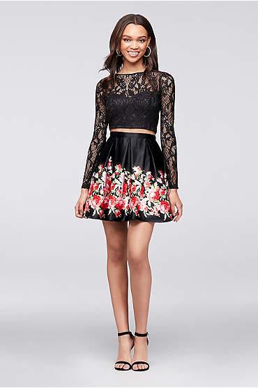 Long-Sleeve Lace Crop Top and Satin Skirt Set