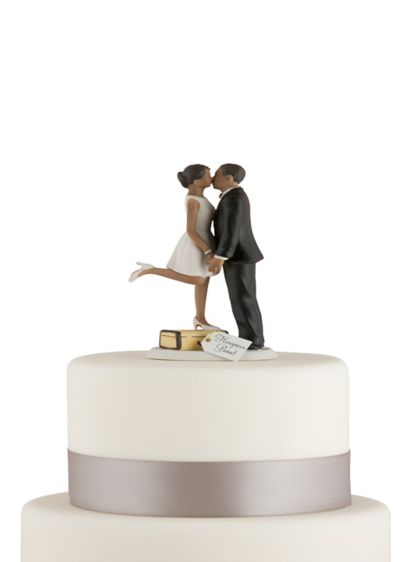Personalized A Kiss And We're Off Cake Topper - Wedding Gifts & Decorations