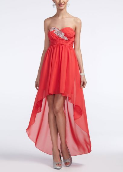 Strapless Chiffon High Low Dress with Beading 9351K62C