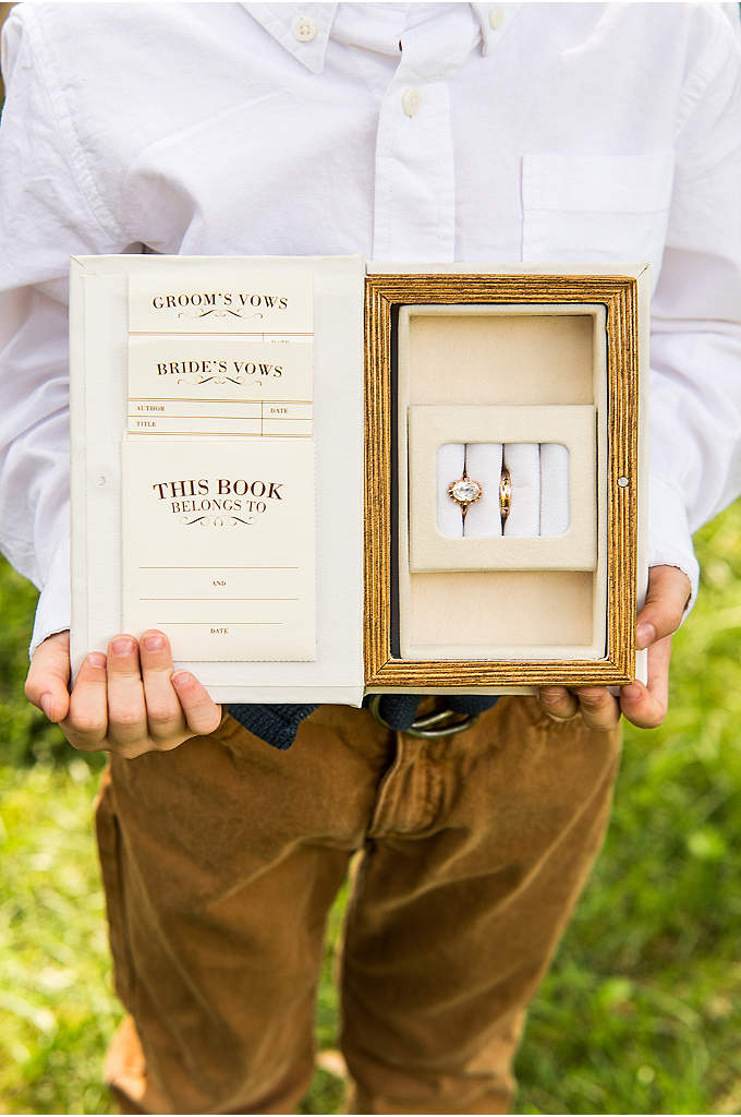 Vintage Inspired Jewelry Book Box - This unique alternative to a traditional ring pillow