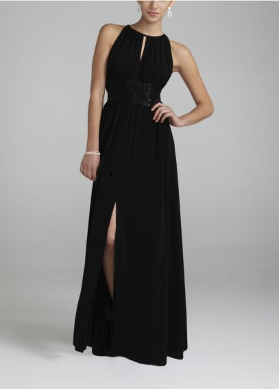 Jersey Dress with Keyhole Neck and Beaded Waist 9455