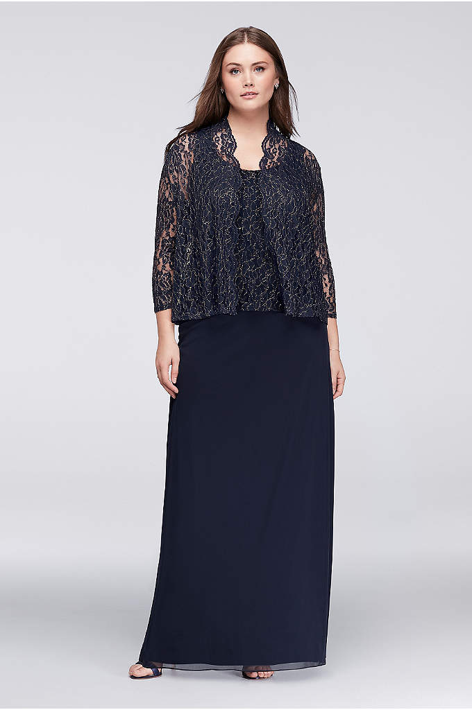 Lace and Chiffon Two-Piece Jacket Dress - With the look of separates, this lace and
