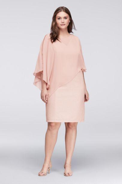 textured plus size shift dress with chiffon cape | david's bridal