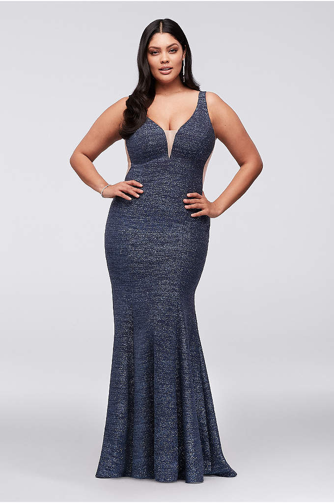 Plunge V-Neck Glitter Knit Mermaid Plus Size Gown - Infused with glitter and finished with an illusion-inset
