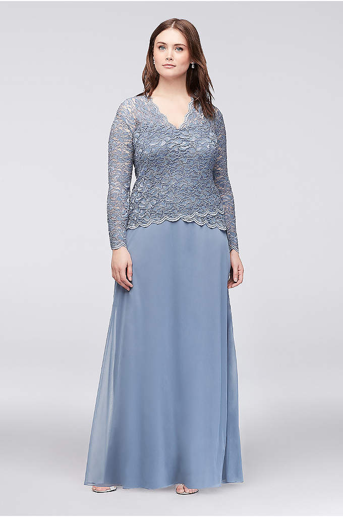 Long-Sleeve Lace and Chiffon Plus Size Dress - Pretty lace and flowing chiffon create a flattering