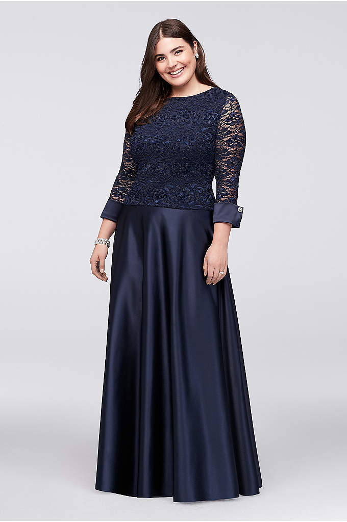 3/4-Sleeve Lace Satin Plus-Size Two-Piece Dress - An elegant style for the mother of the