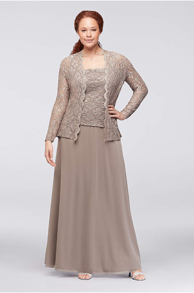 Sequin Lace and Chiffon Two-Piece Plus-Size Dress - With the look of separates, this plus size