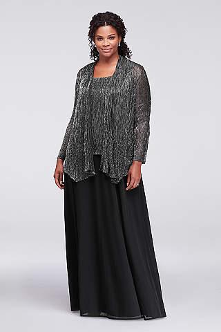 Vestido Curvy de Textura Metálica Con Saco