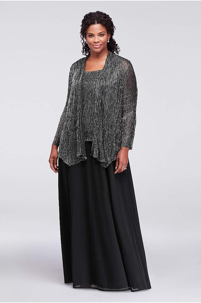 Textured Metallic Plus Size Dress with Jacket - With the look of separates, this textured metallic