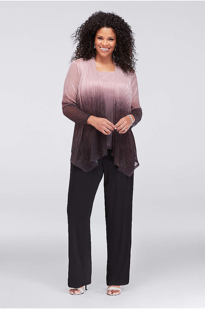 Crinkled Ombre Pantsuit and Matching Jacket - A metallic ombre jersey tank and matching jacket