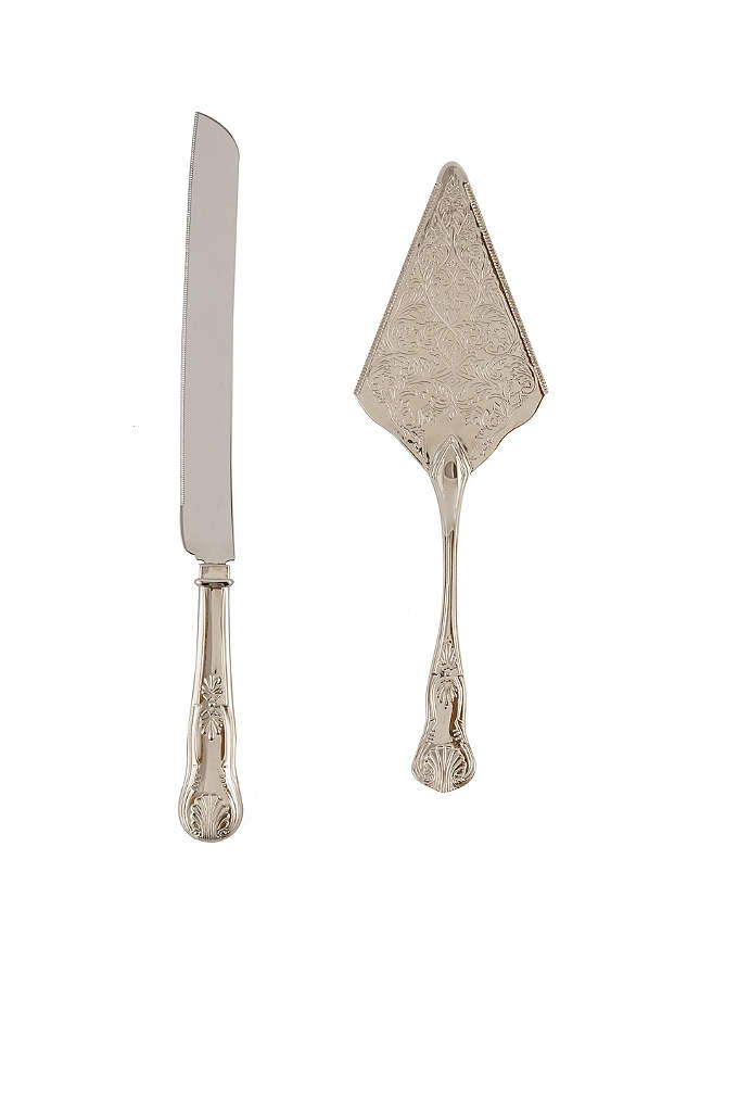 Vintage Inspired Silver Cake Knife and Server - Add a vintage flare to your cake table