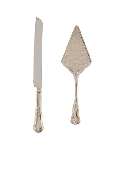 Vintage Inspired Silver Cake Knife and Server - Wedding Gifts & Decorations