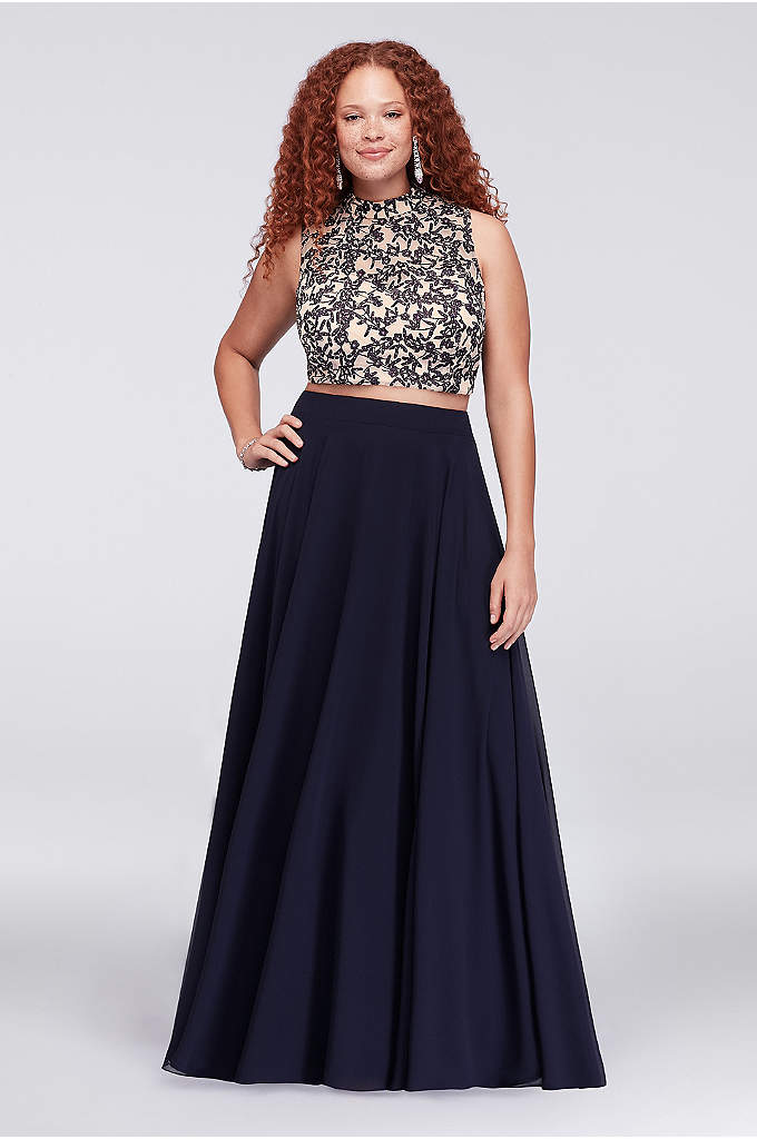 Embroidered Crop Top and Chiffon Skirt Plus Size - This dramatic plus-size ensemble features a stunningly embroidered,