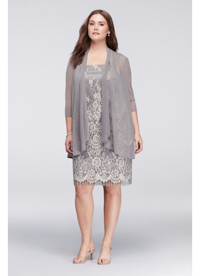 Tiered Lace Plus Size Dress with Sheer Jacket | David\'s Bridal