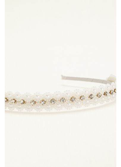 Flower Girl Pearl Crochet Hard Headband - Wedding Accessories