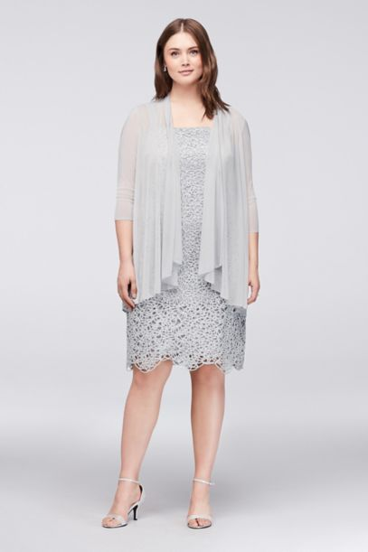Petite Plus Size Metallic Lace Dress with Jacket | David's Bridal