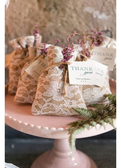 Burlap and Lace Favor Bag Set of 12 - Wedding Gifts & Decorations