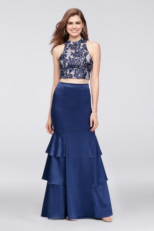 Beaded Top and Tiered Satin Skirt Two-Piece - An appliqued floral lace crop top embellished with