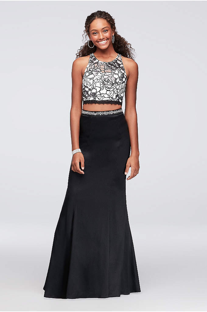 Floral Sequin Two-Piece Dress with Satin Skirt - Take a spin in this two-piece dress to