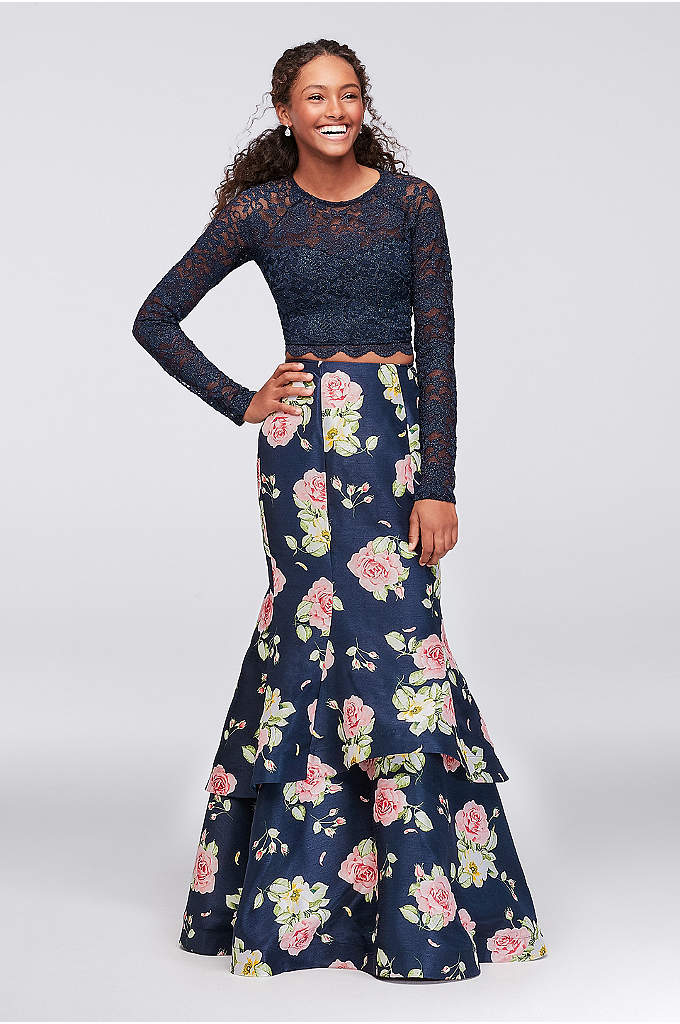 Scalloped Lace and Shantung Two-Piece Prom Dress - A sweet combo of scalloped lace and floral-printed