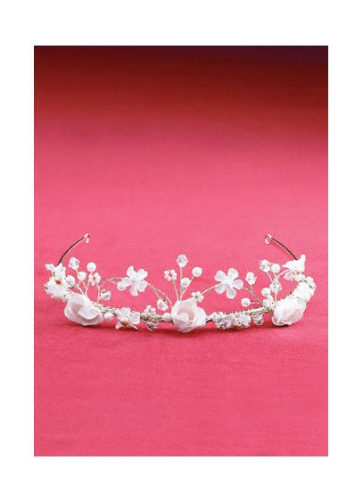 Twisted Wire Silk Flower Crown - Wedding Accessories
