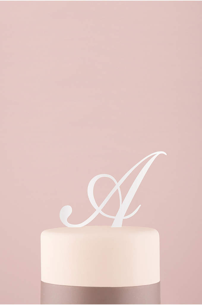 Personalized Script Monogram Acrylic Cake Topper - Let your new last name initial shine on