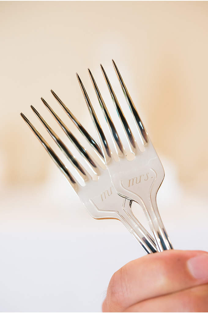 Mr. andMrs. Wedding Cake Fork Set - Celebrate your newlywed status with these forks that
