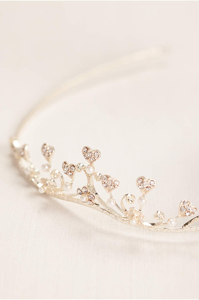 Rhinestone Heart Tiara with Pearls - This adorable child's tiara is beautifully embellished with