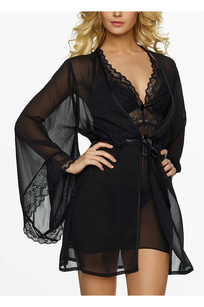 Jezebel Hela Chiffon Kimono Robe - Beautiful and romantic sheer chiffon robe with full