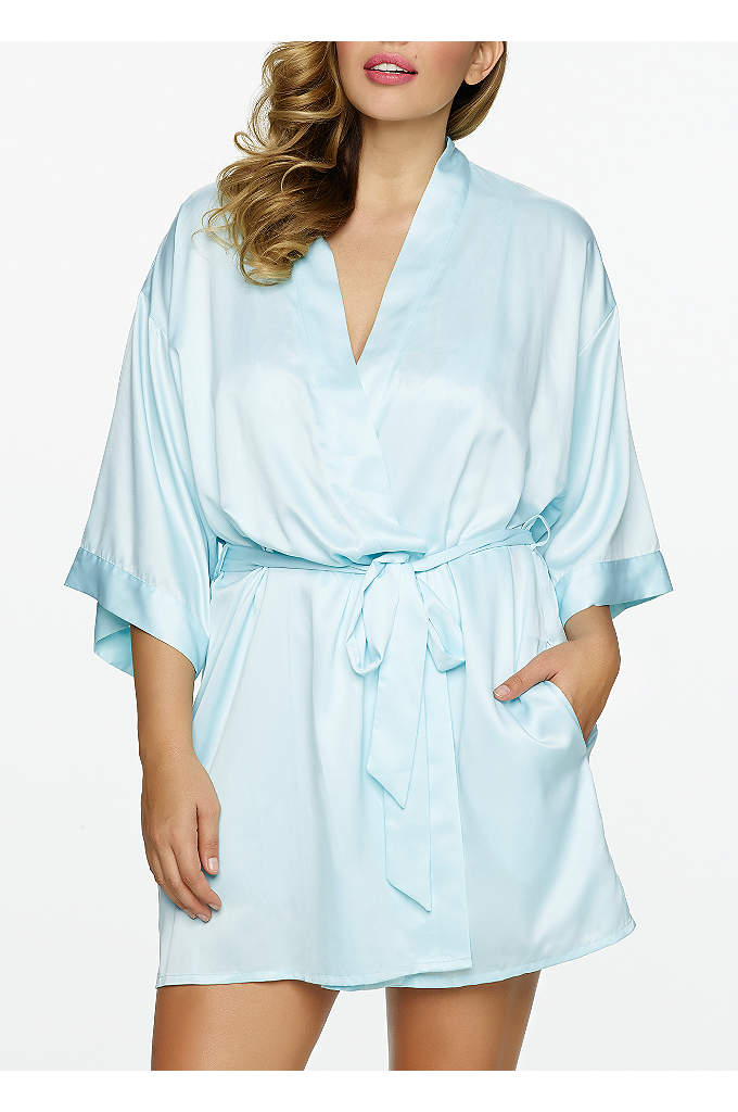 Jezebel Plus Size Satin Kimono - This solid satin charmeuse robe with separate tie
