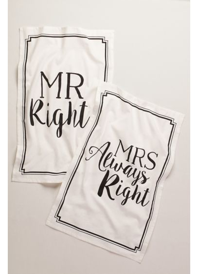 Mr Right and Mrs Always Right Dish Towels - Wedding Gifts & Decorations
