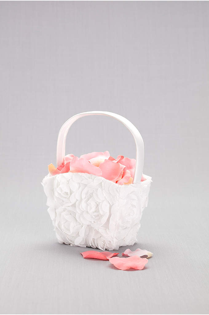 Organza Flower Girl Basket - This petite flower girl basket is adorned with