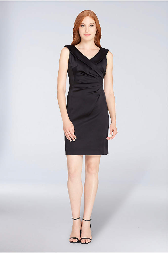 Ruched Short Satin Dress with Portrait Neckline