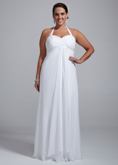 Halter Chiffon A-Line Dress with Center Front Drap 9BR1016N
