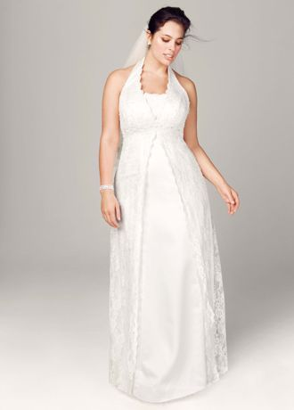 A-Line Lace Plus Size Wedding Dress with Beading - All over lace A-Line halter with beaded embroidery.