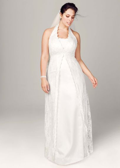 A-Line Lace Plus Size Wedding Dress with Beading 9H9572