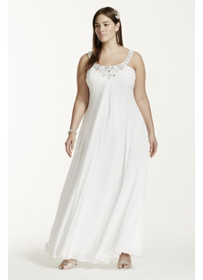 Plus size wedding dress with sequin neckline davids bridal for Davids bridal beach wedding dresses